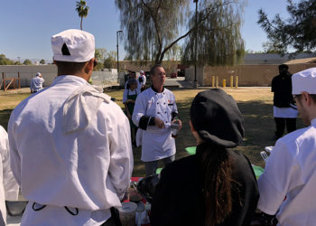 College of the Desert Culinary instructor Jeff Azer talks to students about the farm-to-table program.