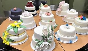Two-tier cakes on a table